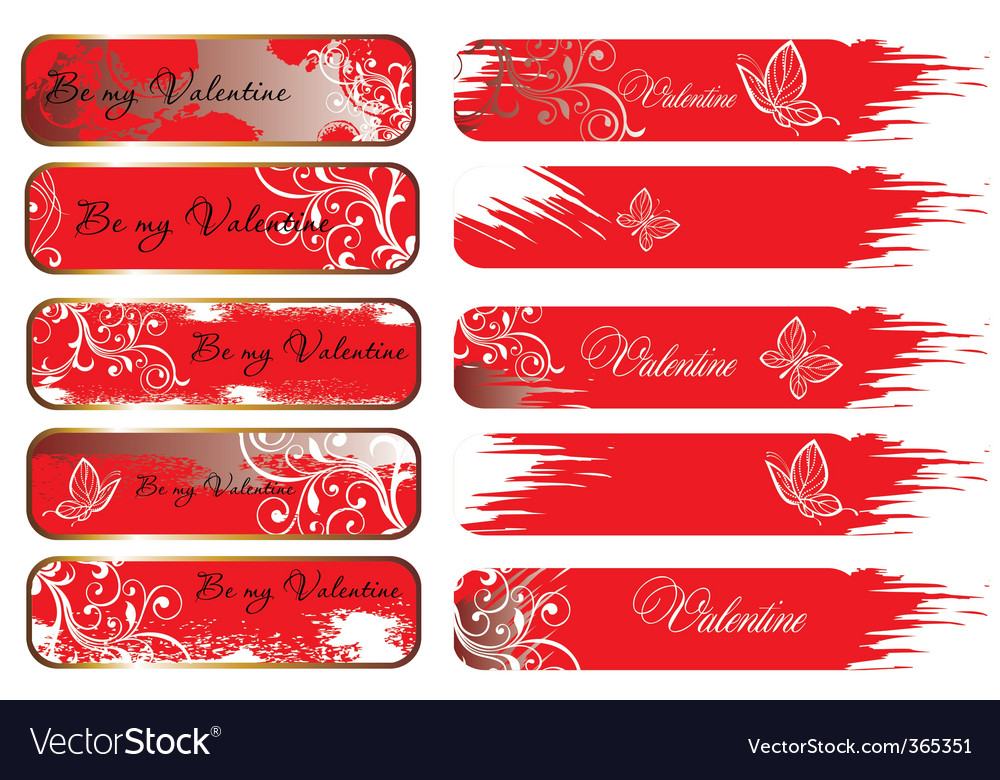 Valentine's banners vector