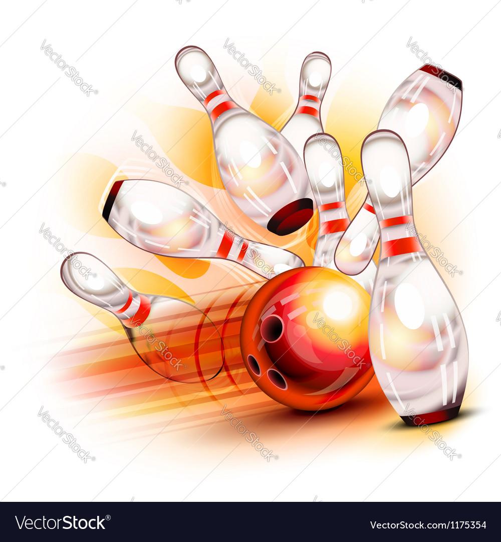 Bowling ball crashing into the shiny pins vector