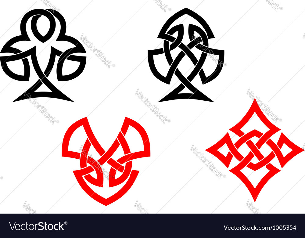 Poker card symbols in ornamental celtic style vector
