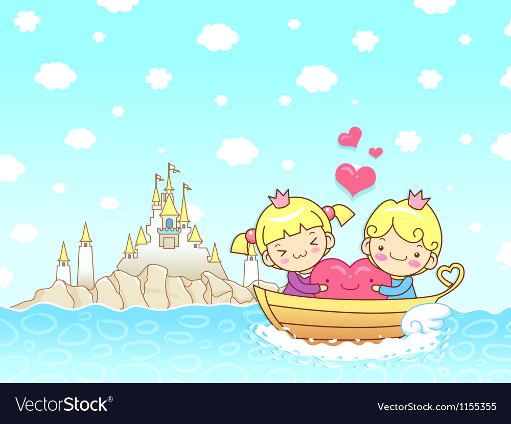 The couples love towards the boat ride vector