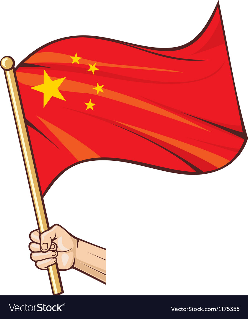 Hand holding china flag vector