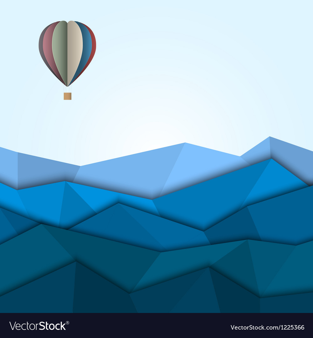Hot air balloon and mountains from paper vector