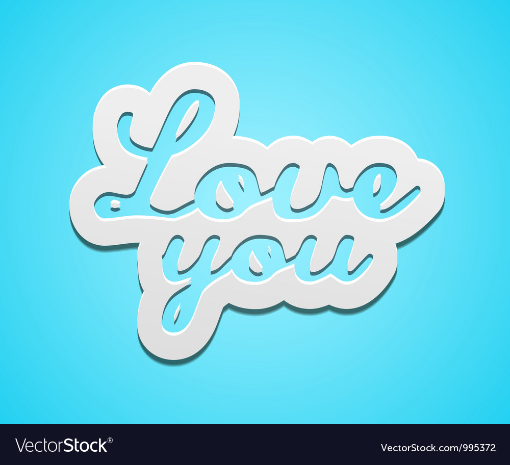 Simple love you text badge on blue background vector