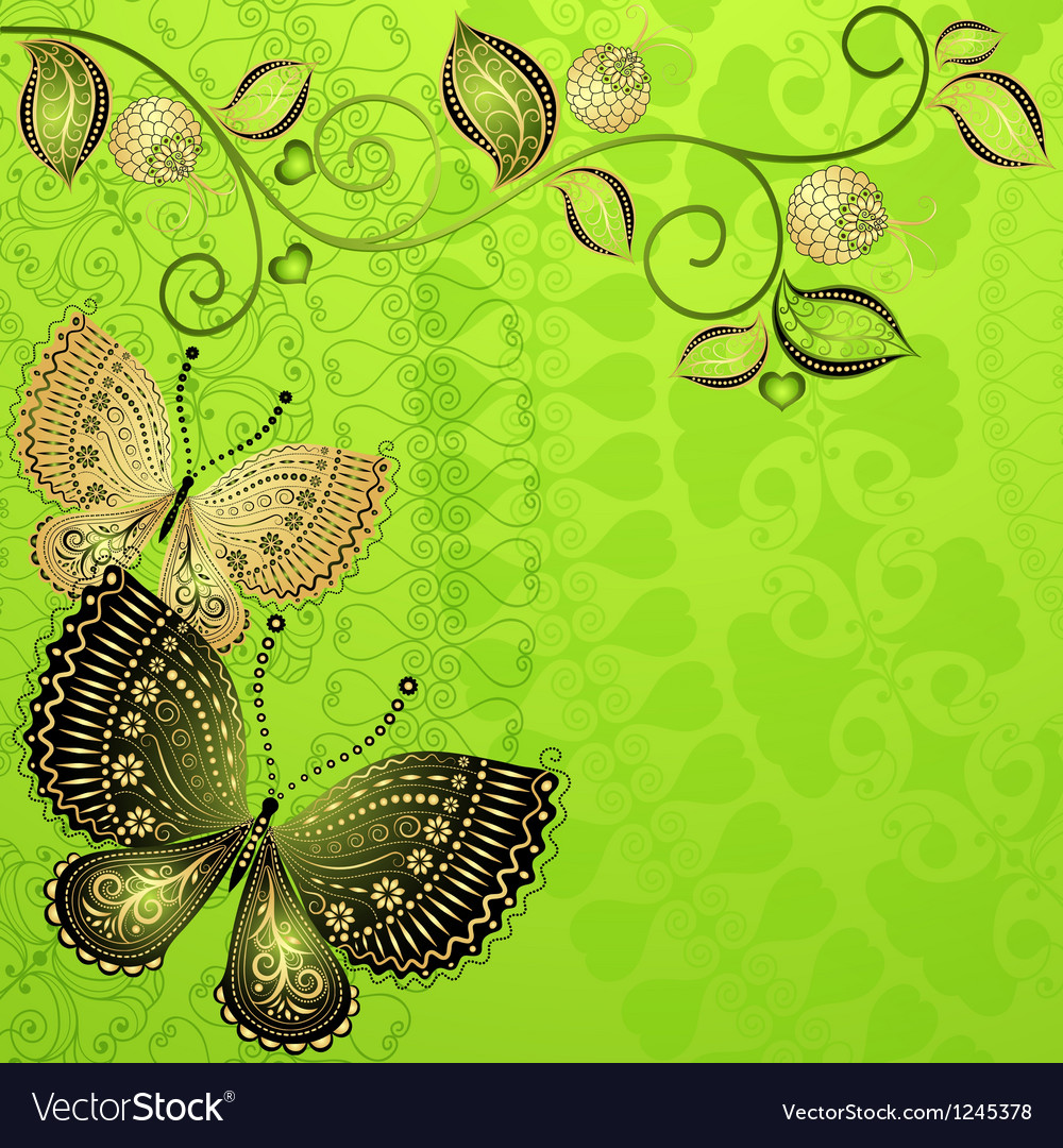Green spring floral frame vector