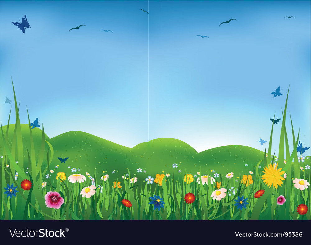 Flowering meadow vector