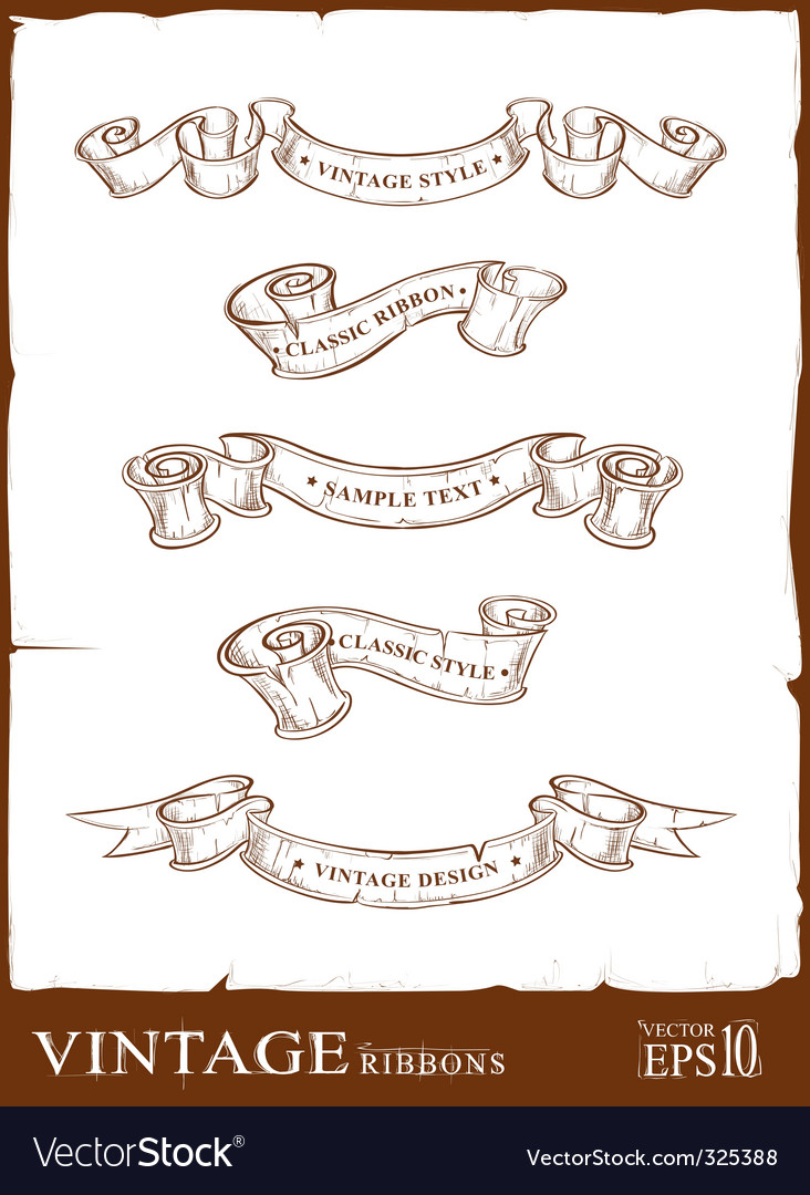 Vintage ribbons set vector