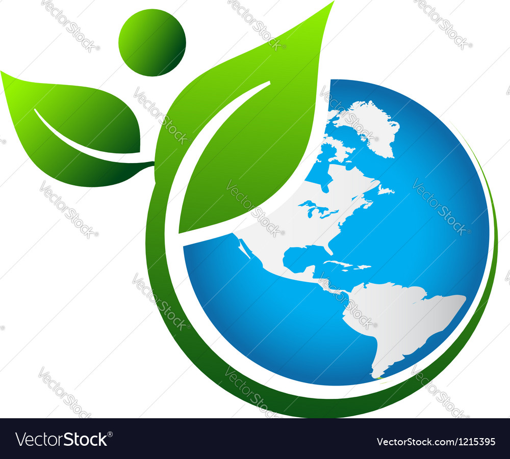 Green earth logo vector by Deskcube - Image #1215395 - VectorStock