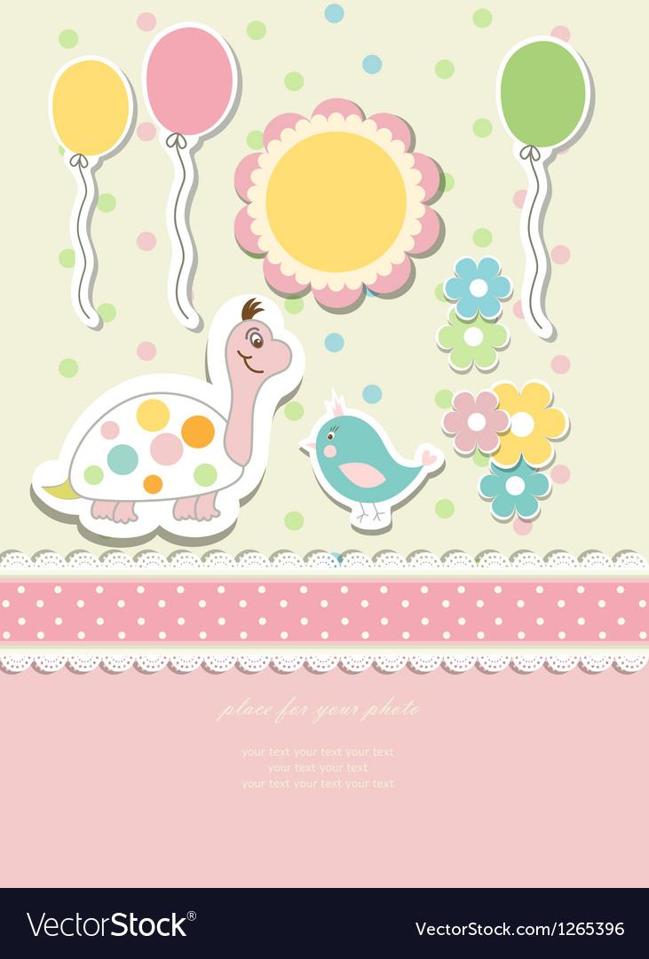Vintage doodle baby card vector