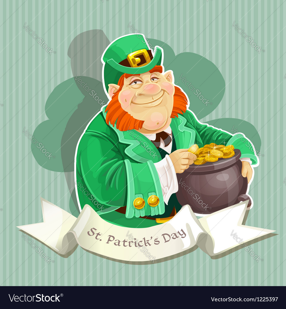 Cute big fat leprechauns guard the pot of gold vector