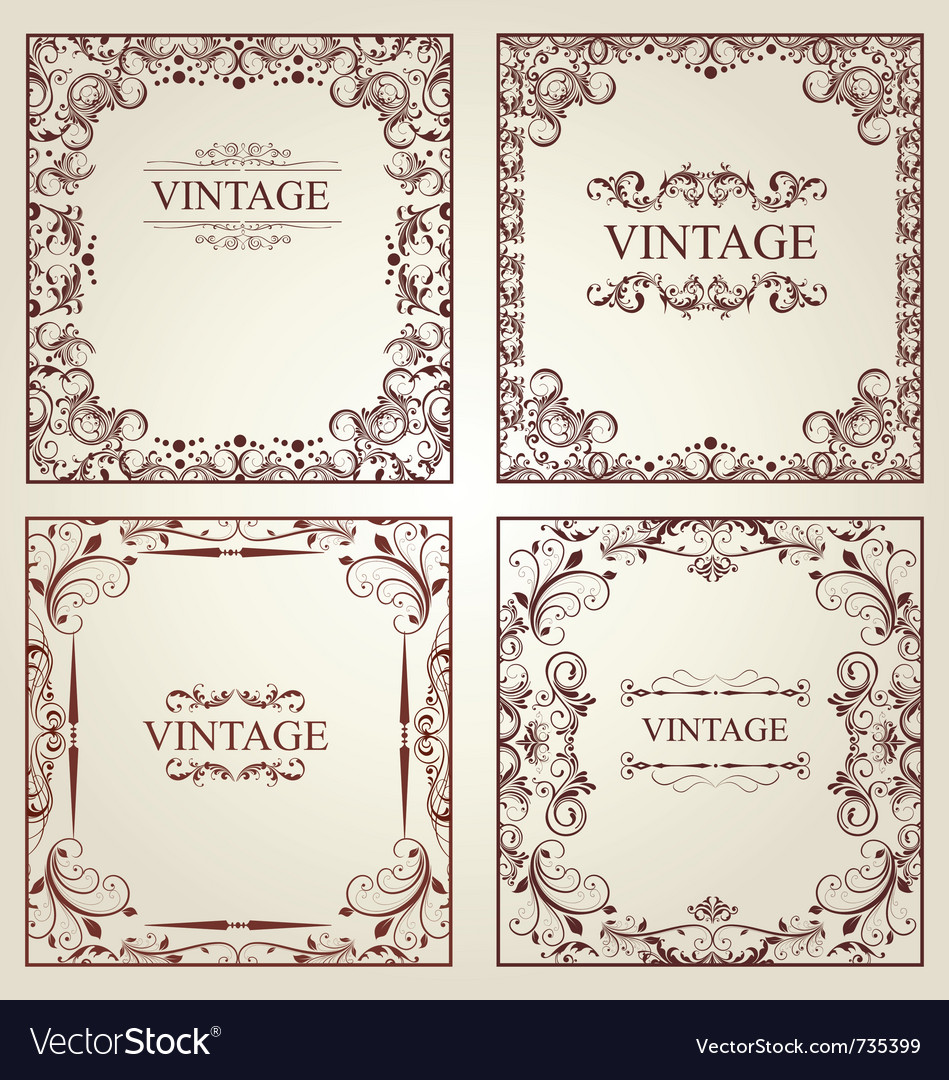 Vintage frames - set vector