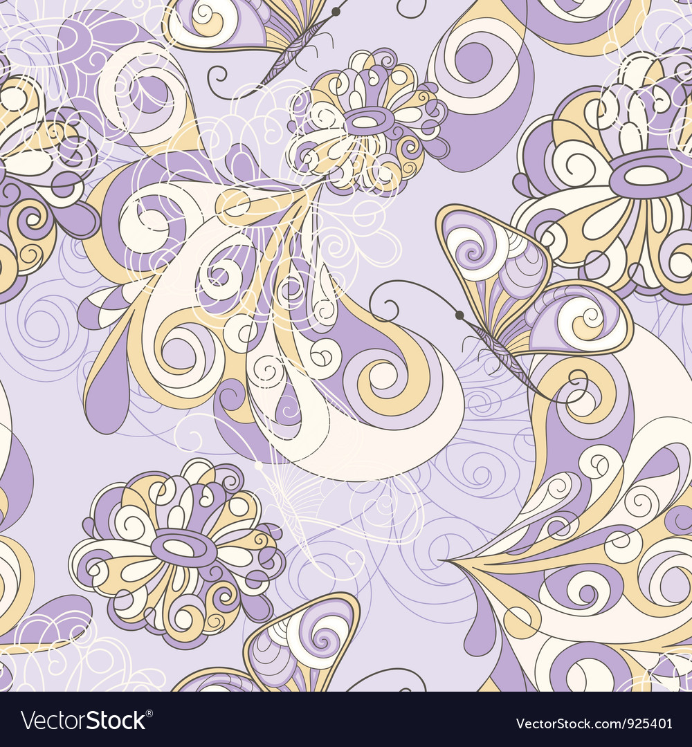 Seamless pattern butterflies vector