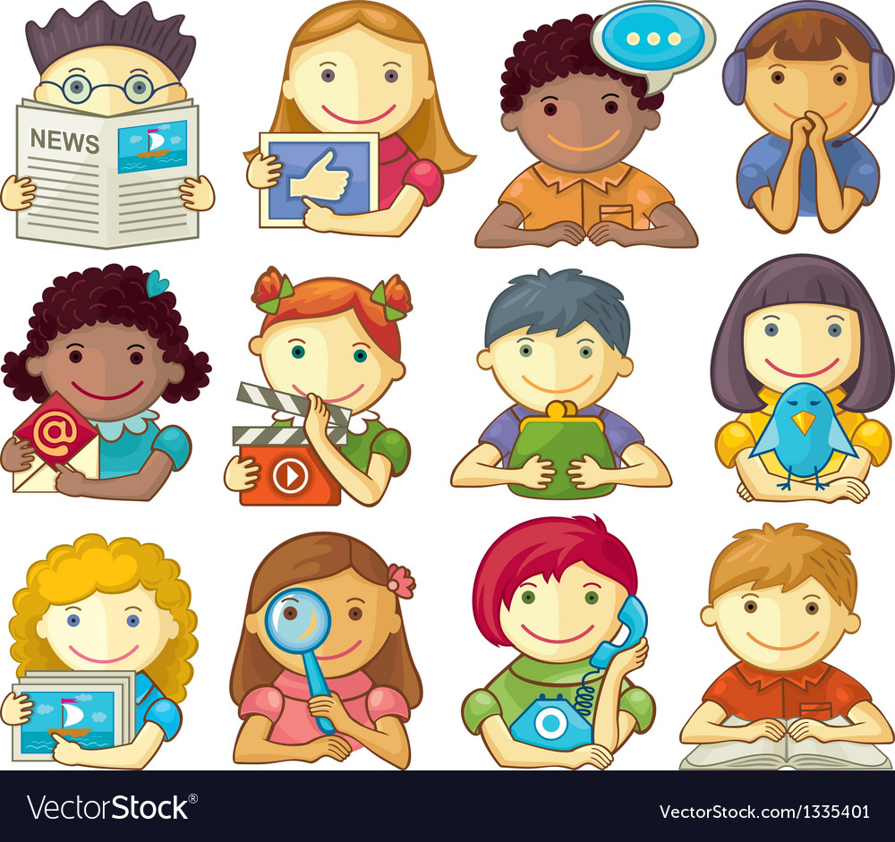 Set of cute characters for web menu vector