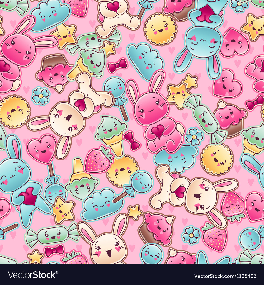Seamless kawaii child pattern with cute doodles vector