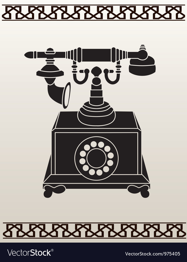Ancient telephone stencil vector