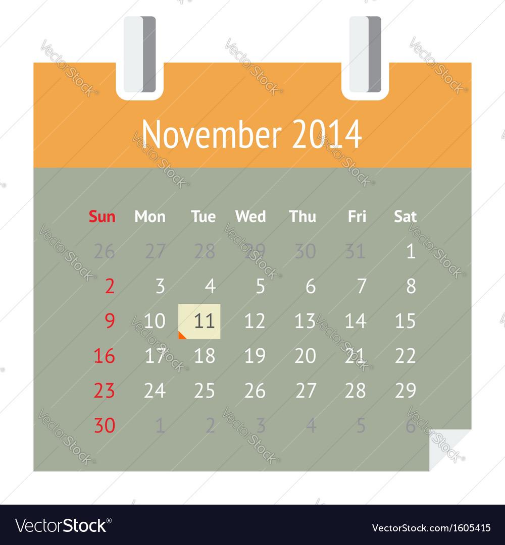 Calendar page for november 2014 vector