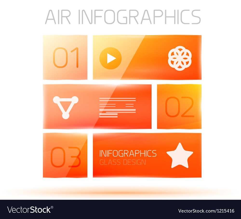 Glass square infographics banner vector