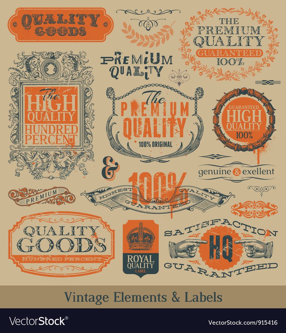 Vintage emblems and labels vector