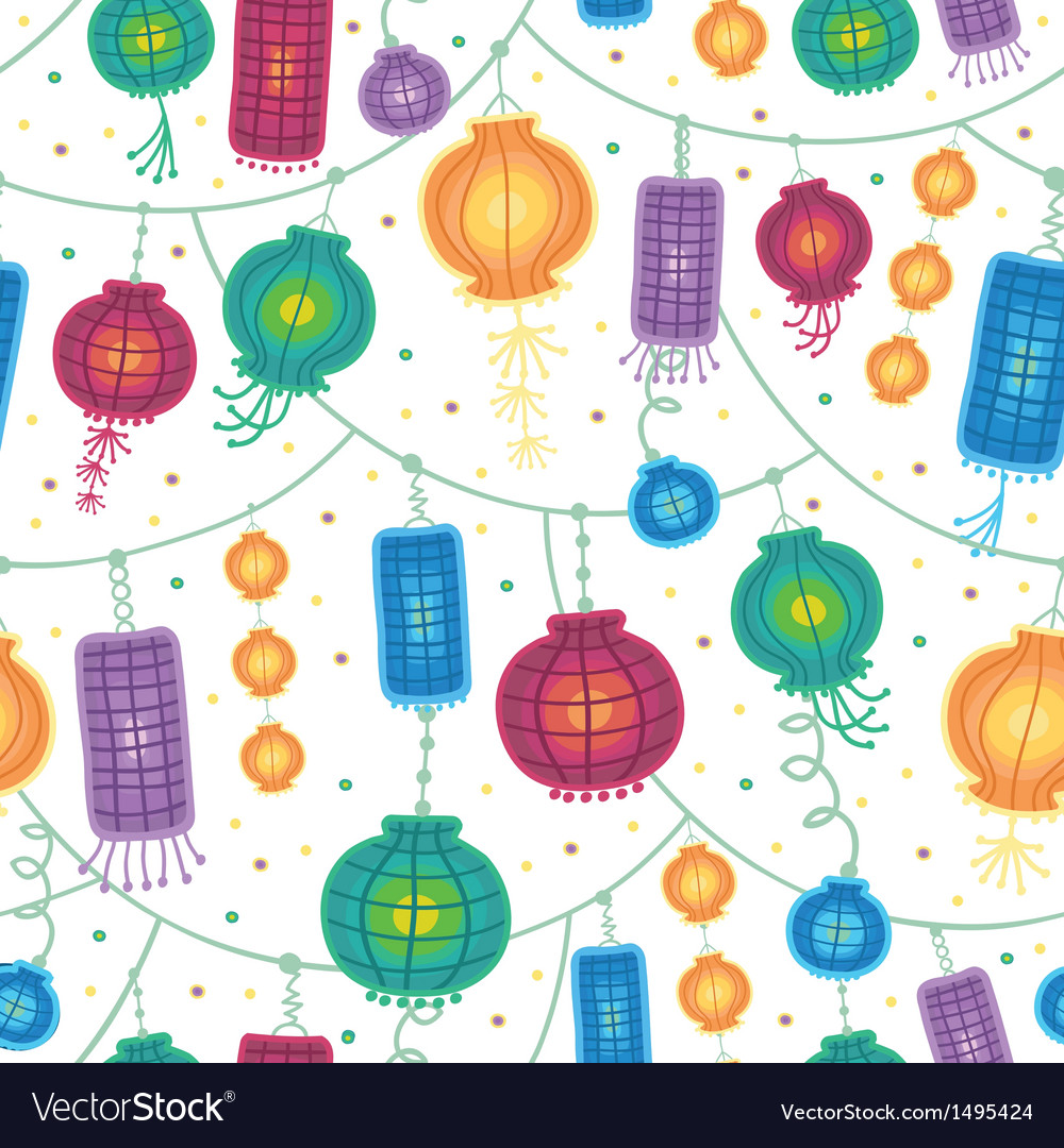 Holiday lanterns seamless pattern background vector