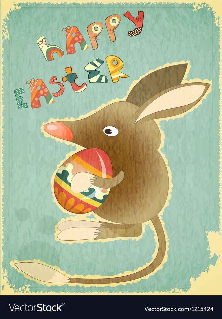 Retro vintage card with easter australian bilby vector