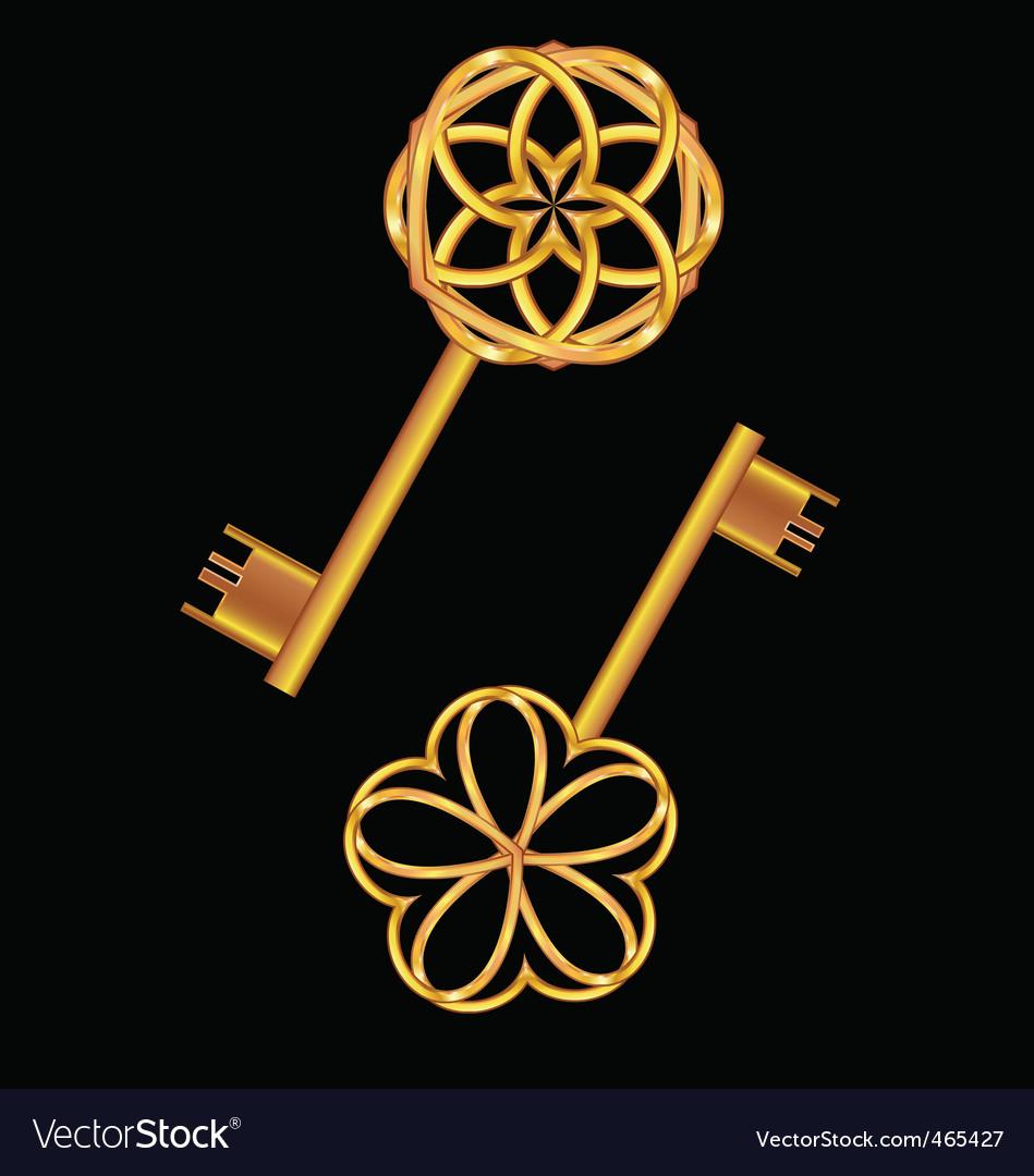 3d golden vintage key vector
