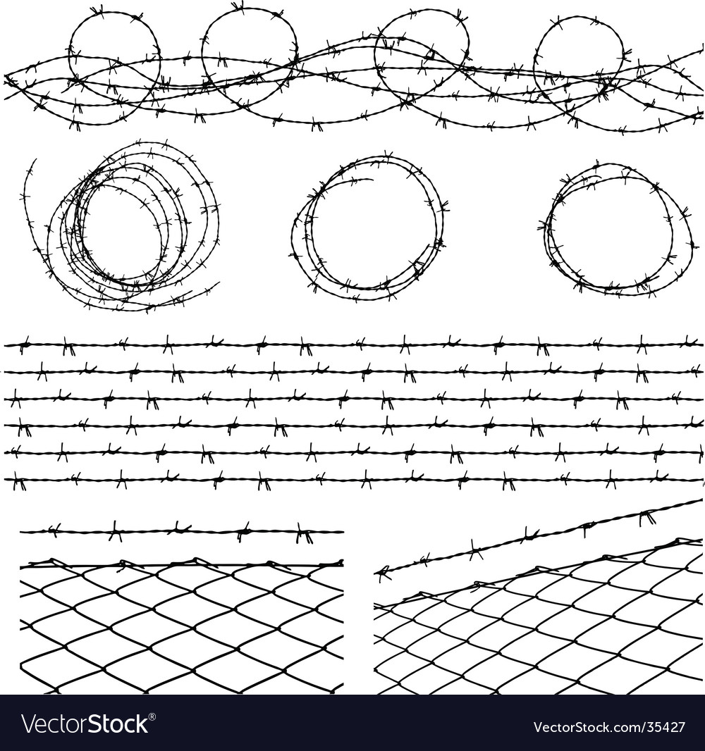 Barbed wire elements vector