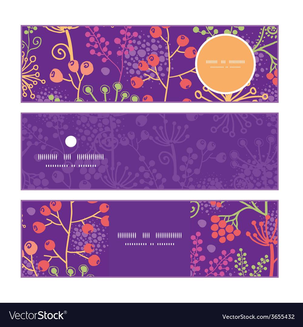 Colorful garden plants horizontal banners set vector
