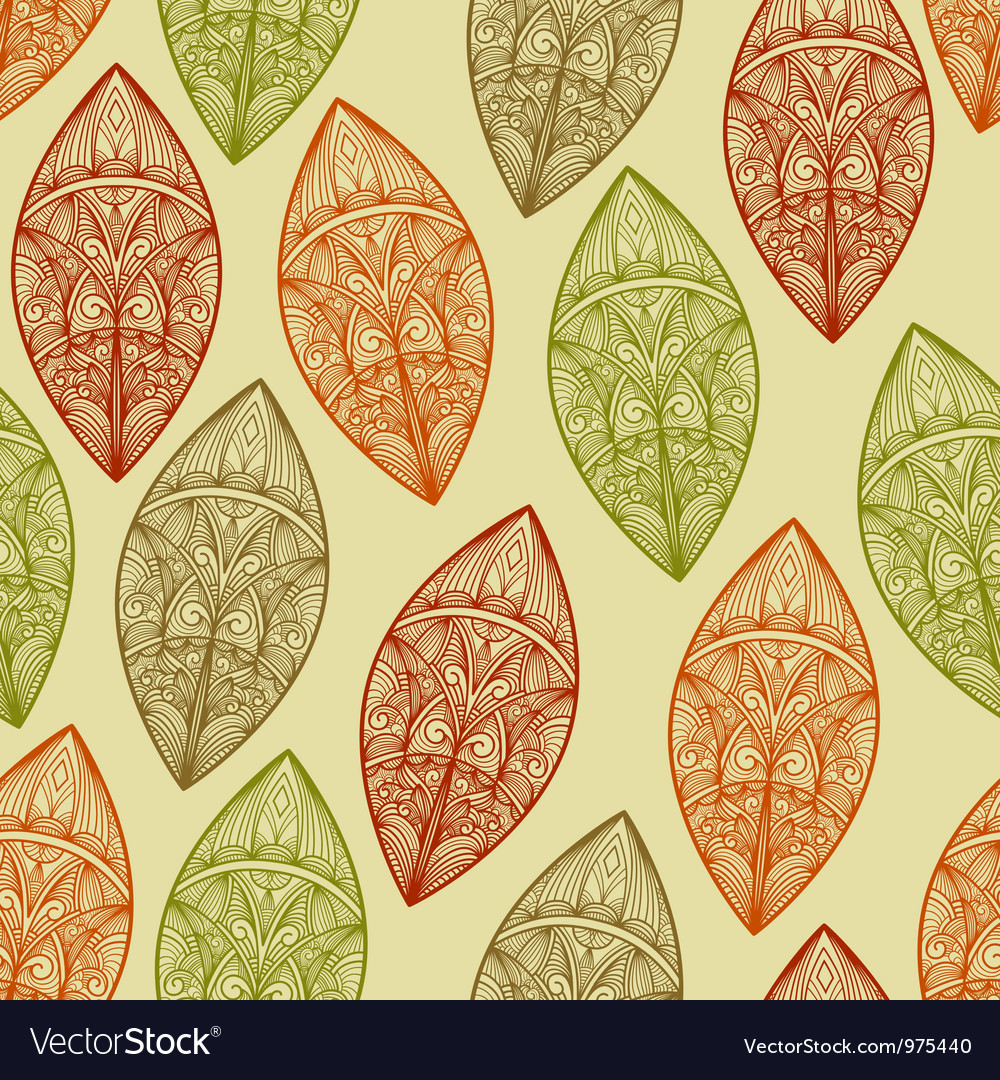 Seamless pattern autumn highly detailed vector