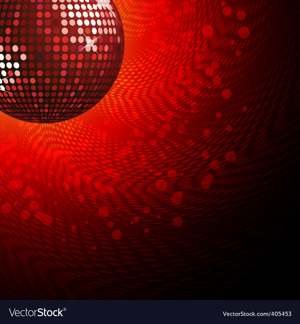 Red disco ball and haltone vector