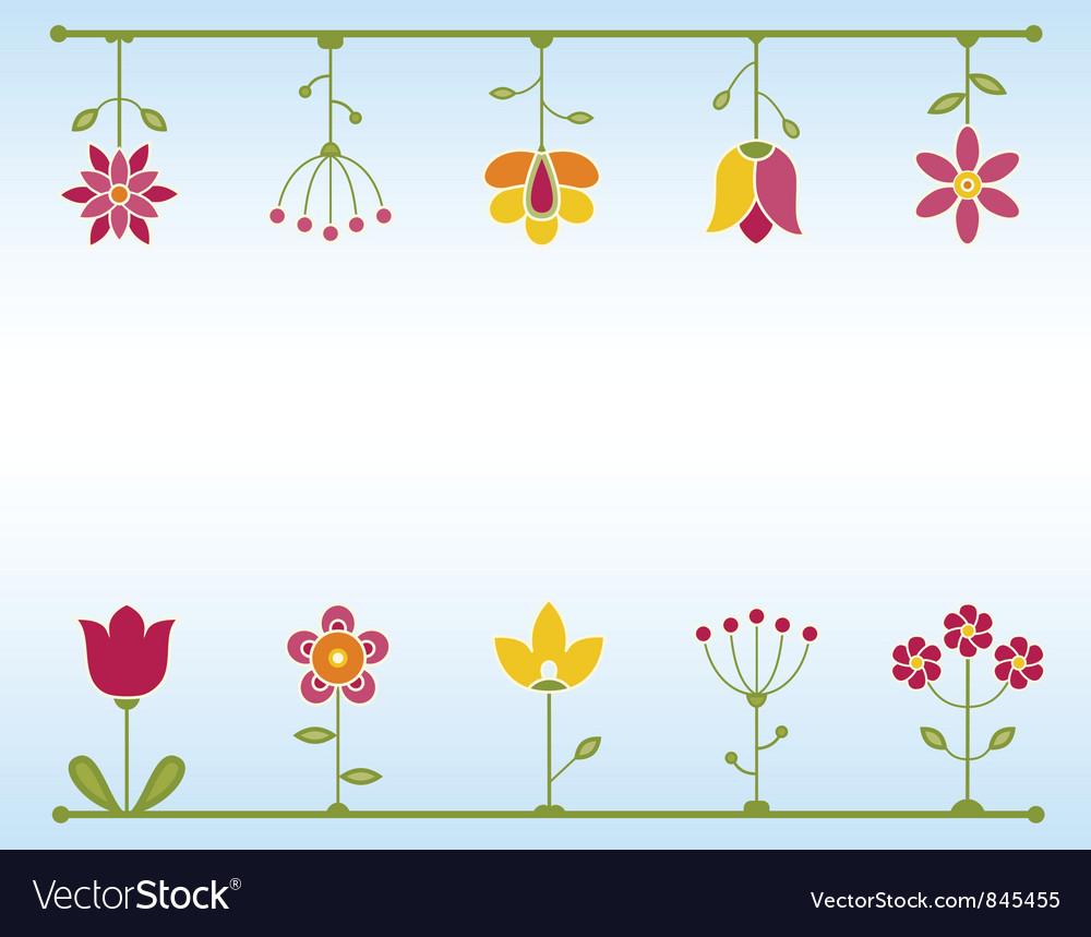 Retro flower frame vector