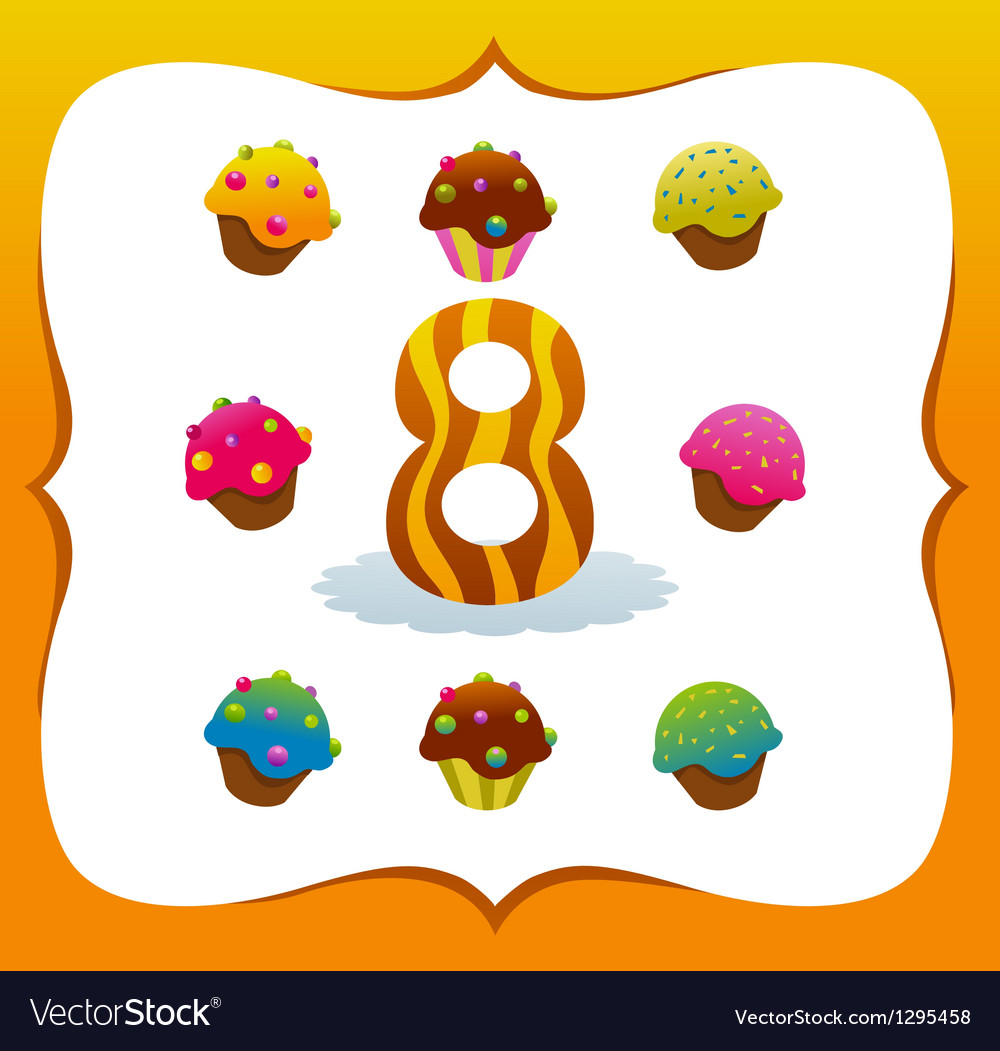 Collection sweet numbers for kids 8 vector