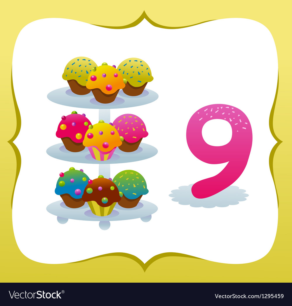 Collection sweet numbers for kids 9 vector