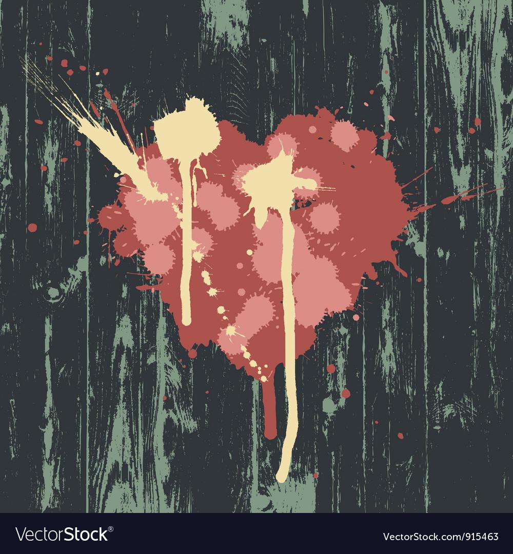 Grunge heart wooden texture vector