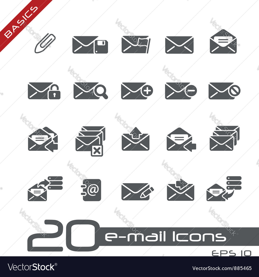 Email icons basics vector