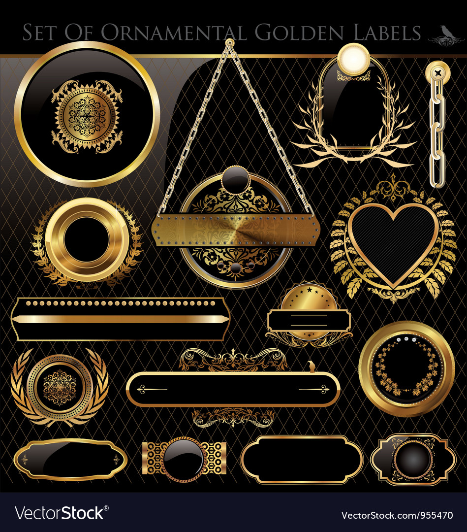 Black and gold framed labels vector
