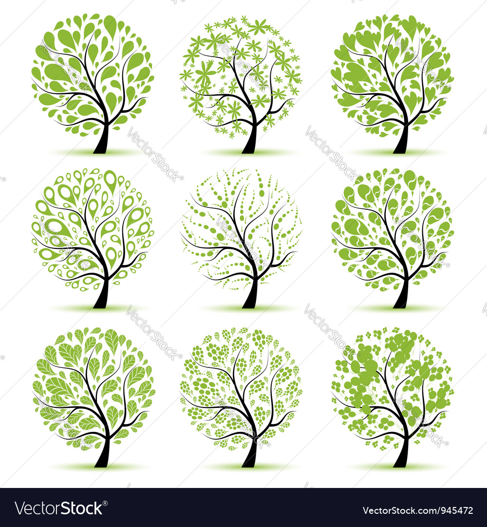 Art tree collection for your design vector