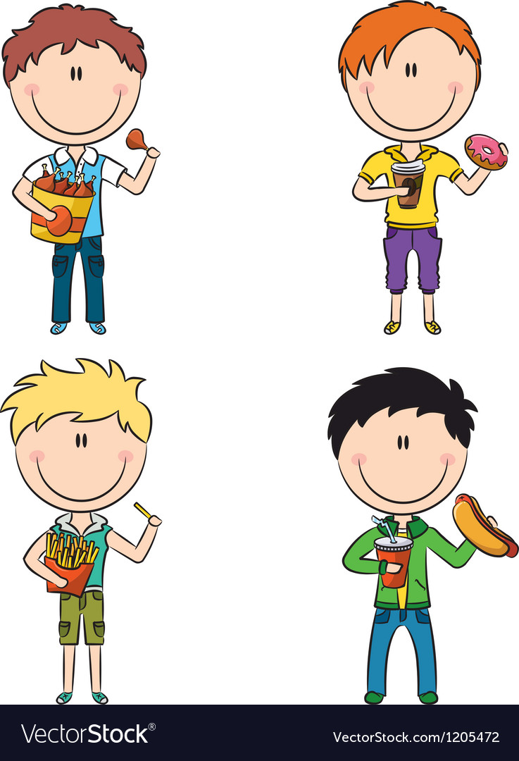 Fast food boys vector