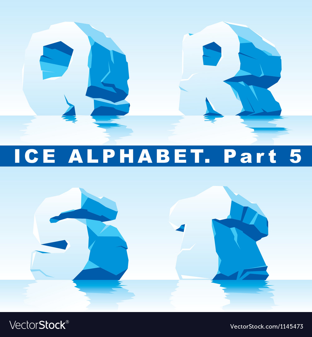 Ice alpfabet part 5 vector