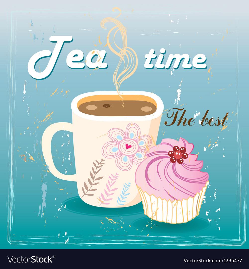Delicious tea and cake vector