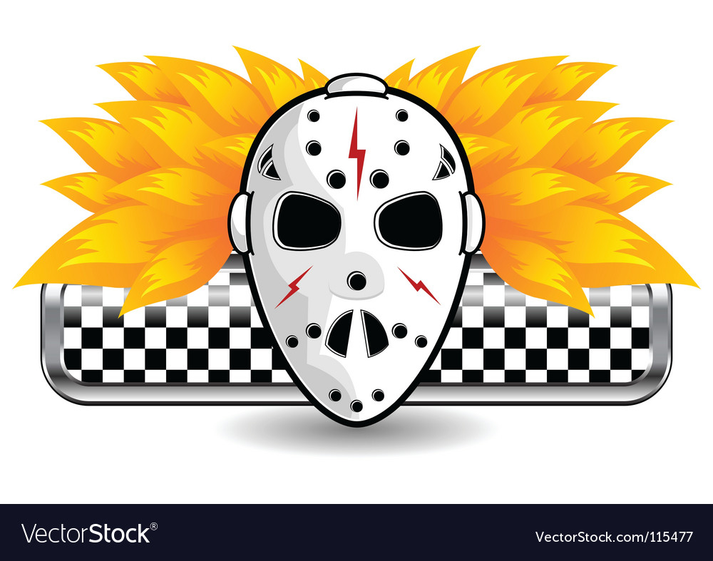 Hockey mask on fire vector