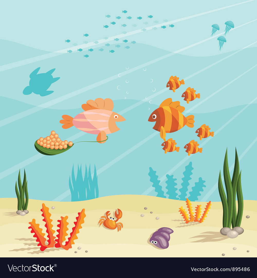 Life of small fishes vector