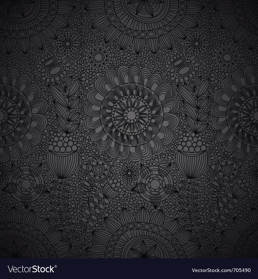 Black floral lace wallpaper vector