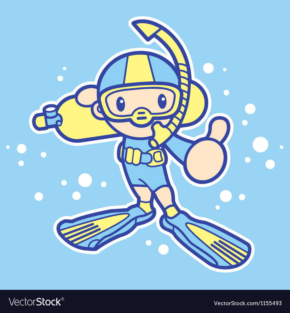 Scuba diving exercise in boys mascot vector