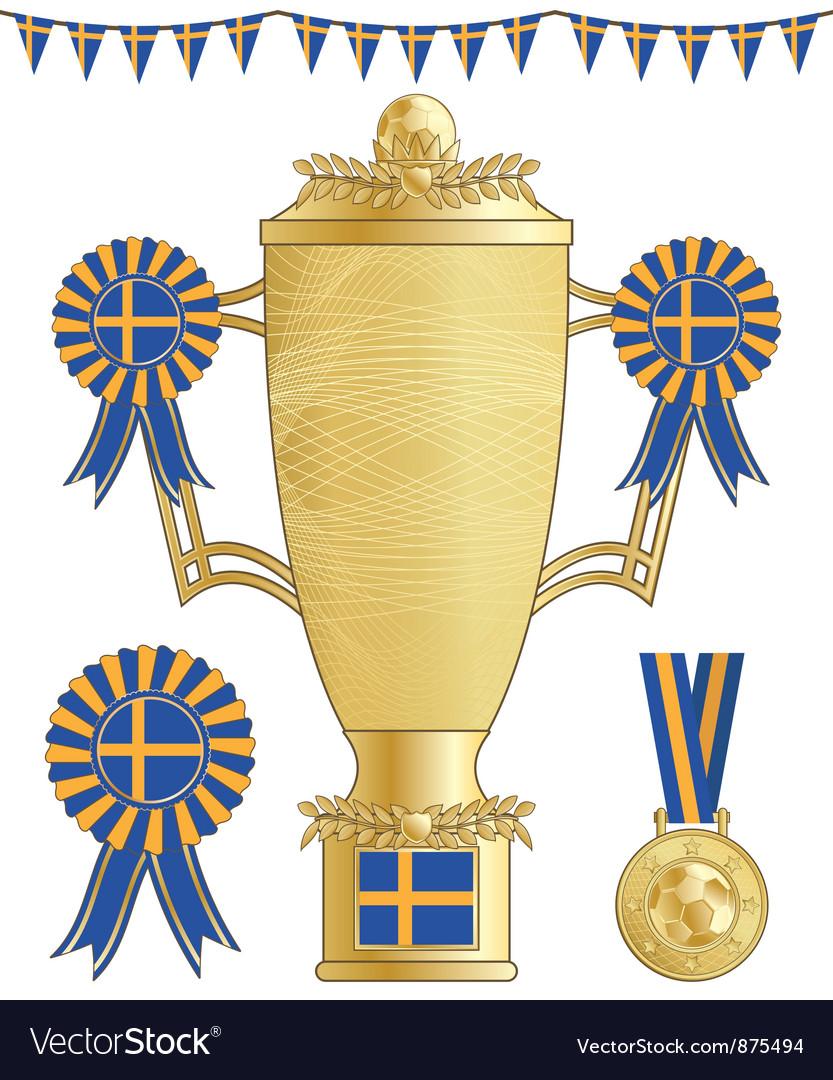 Sweden football trophy vector