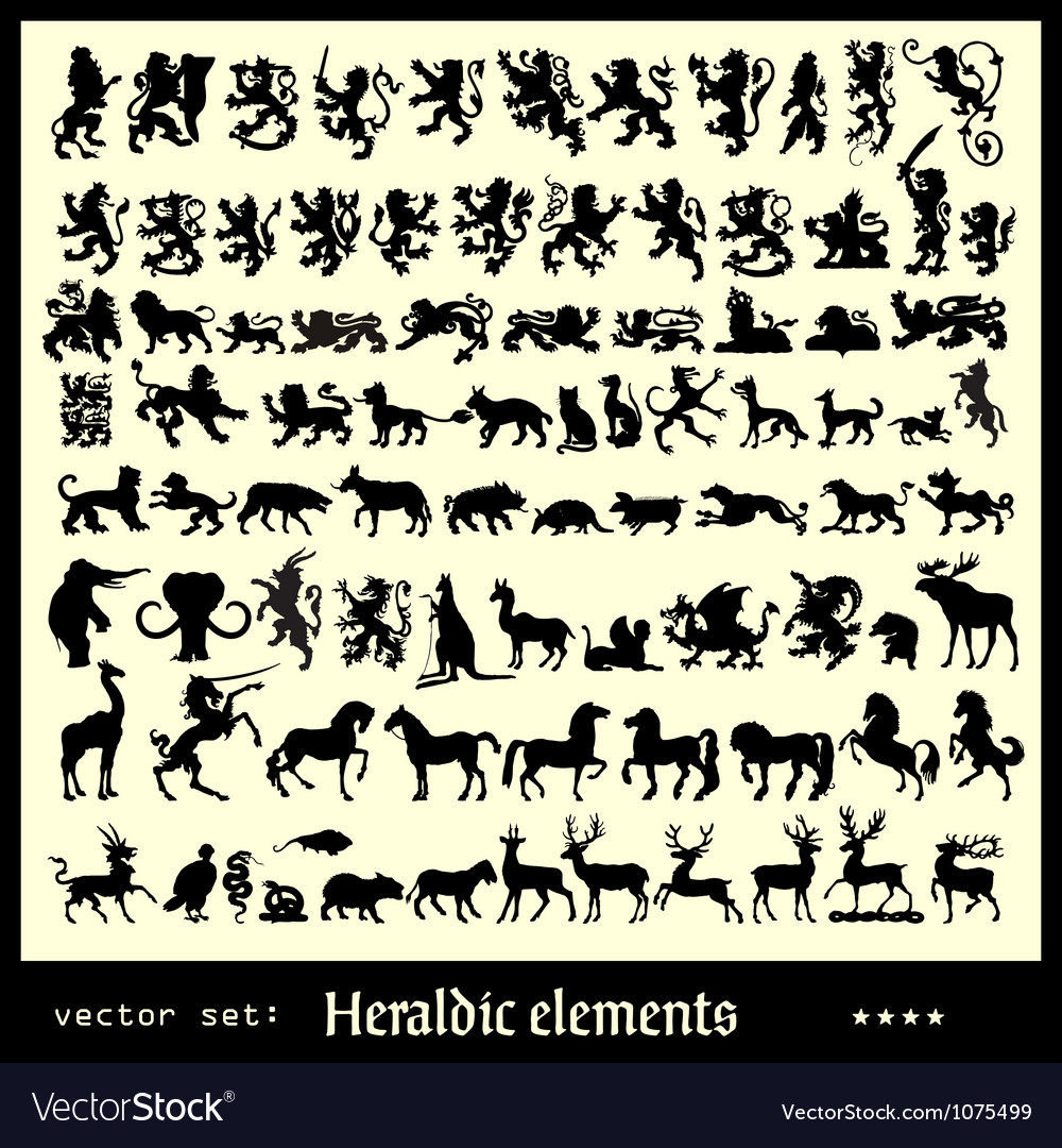 Heraldic elements beasts vector