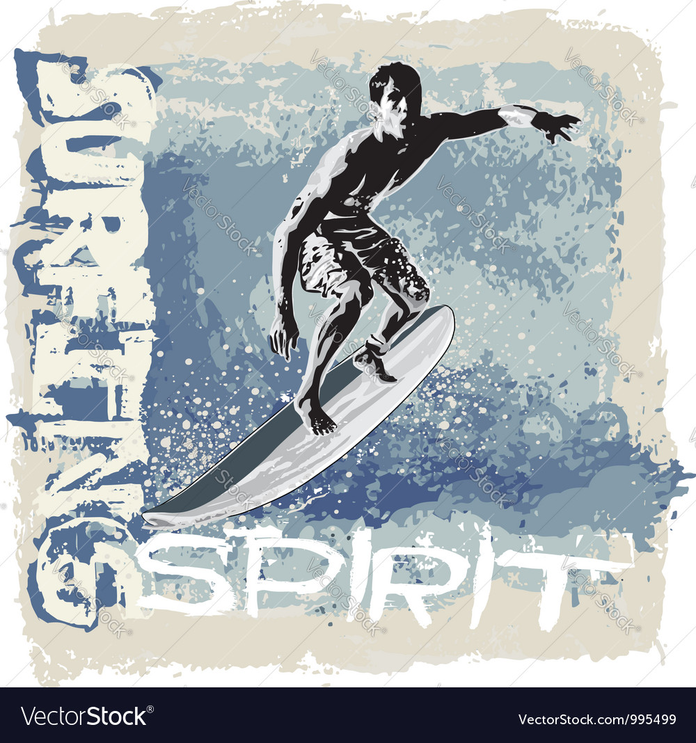 Surfing spirit vector