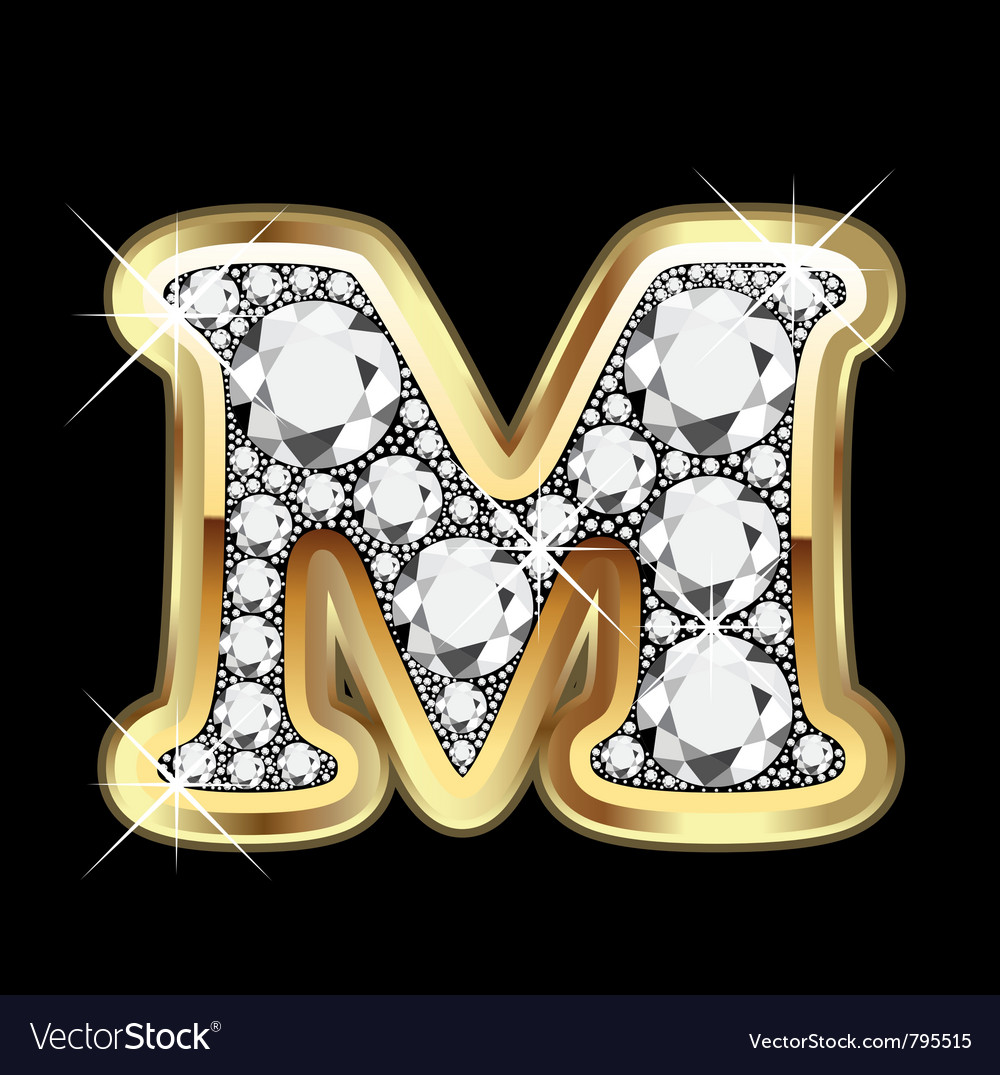 M Letter In Diamond Letter m gold and diamond