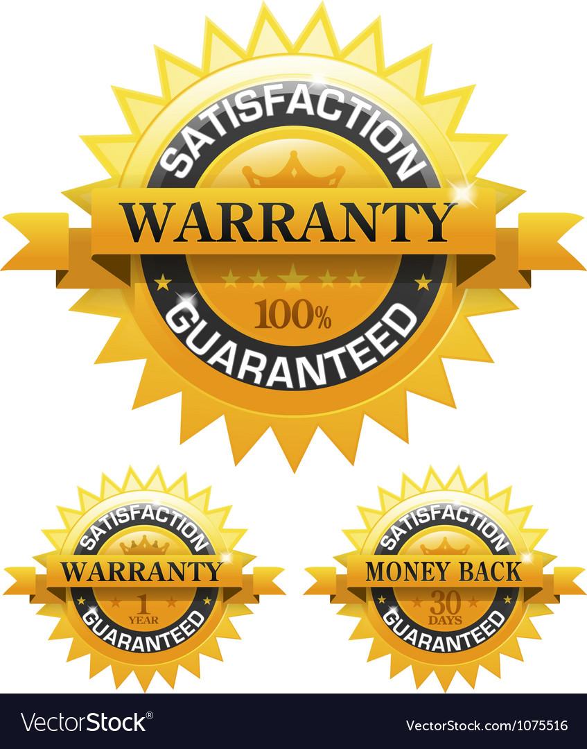 Customer satisfaction guaranteed gold badge vector