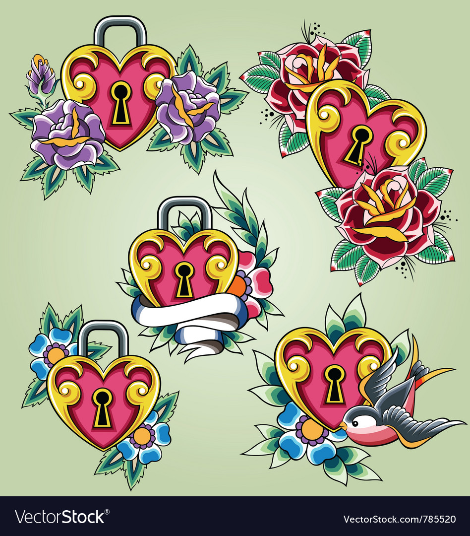 Bird heart and rose tattoo set vector