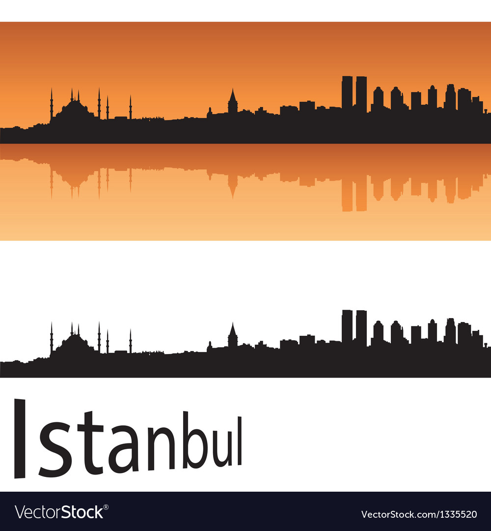 Istanbul skyline in orange background vector