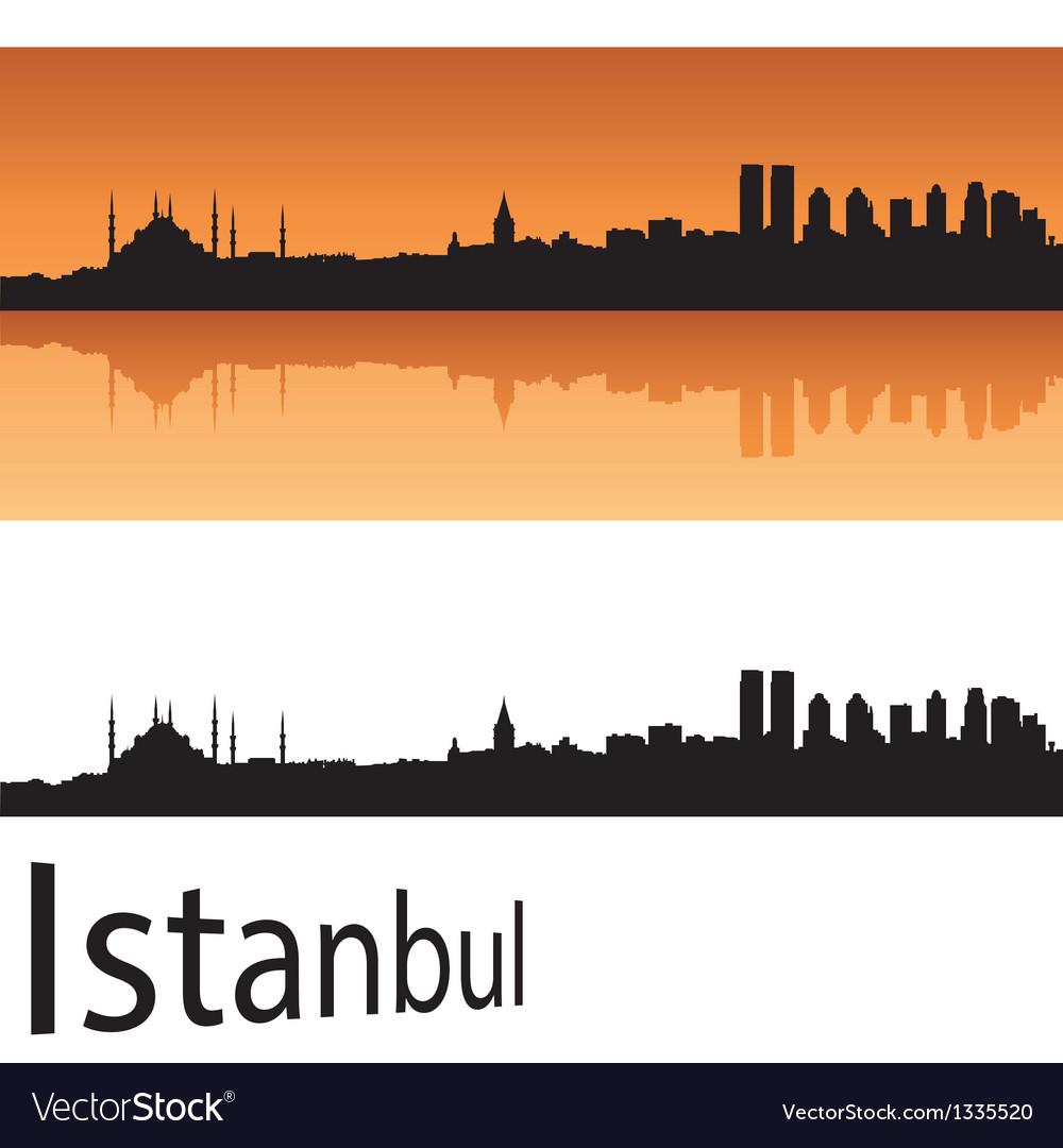 Istanbul skyline in orange background vector